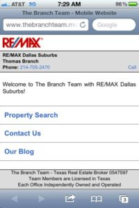The Branch Team Mobile Website