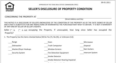 Texas Sellers Disclosure Notice