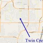 Map showing the location of Twin Creeks in Allen, TX